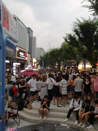 Hongdae (a very popular shopping and performance destination)