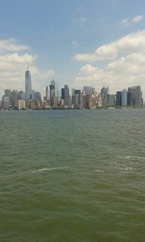 The New York skyline from from the ferry to Ellis Island